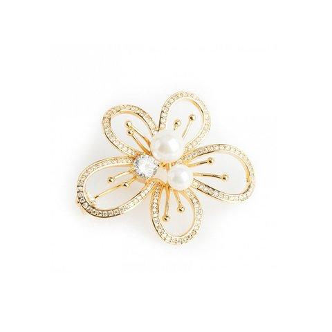 Брошь Цветок с жемчужиной FCN-00011 G/BR