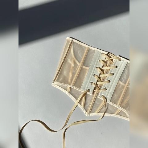 Roze Корсаж со стразами серебро с заостренным низом, Бежевый, M