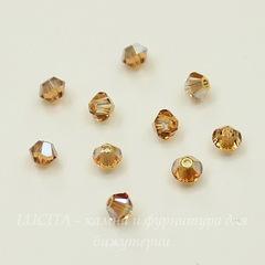 5328 Бусина - биконус Сваровски Crystal Metallic Sunshine 3 мм, 10 штук