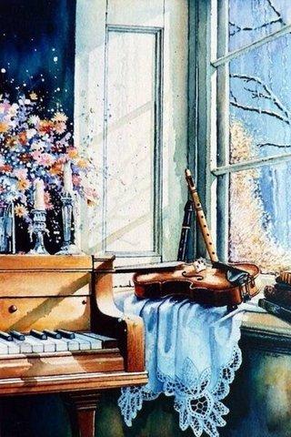 Картина раскраска по номерам 50x65 Музыкальные инструменты у окна