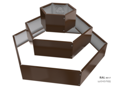 Клумба многоугольная оцинкованная Альпийская горка 3 яруса RAL 8017 Шоколад