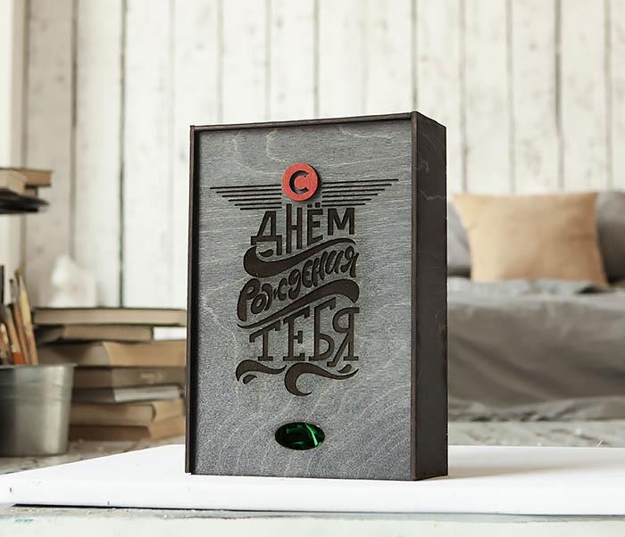 BOX229-1 Большая мужская коробка из дерева для подарков (18*26*7,5 см)