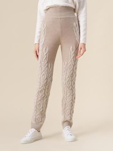 Женские брюки бежевого цвета из 100% кашемира - фото 4