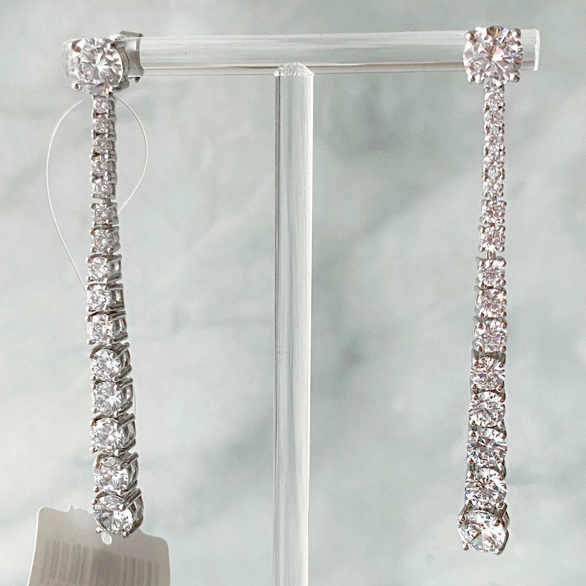 Серьги-дорожки к круглыми цирконами (серебро 925)
