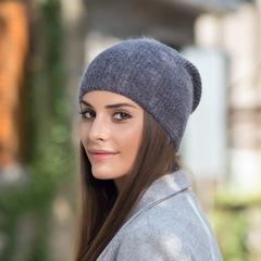 Зимняя шапка из пуха кролика (серая)