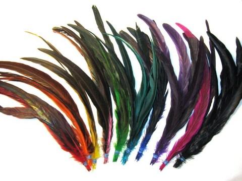 Перья петуха, 30 см. ( 6 шт.),  (выбрать цвет)