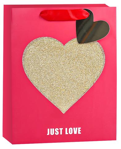Пакет подарочный, Золотое сердце, Признание в любви, Красный, с блестками, 32*26*12 см