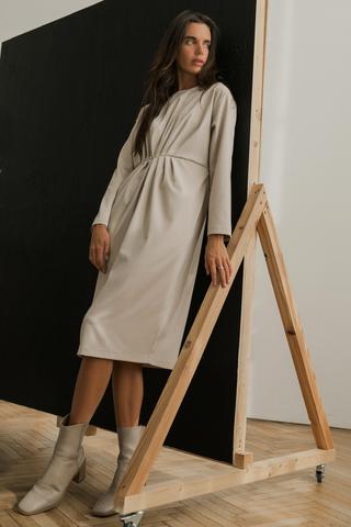 Платье со складками на талии, светло-бежевый