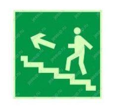 """Фотолюминесцентный знак Е16 """"Направление к эвакуационному выходу по лестнице вверх"""" (левосторонний)"""