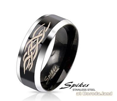 R-M2311-8 Черное мужское кольцо «Spikes» из стали с узором