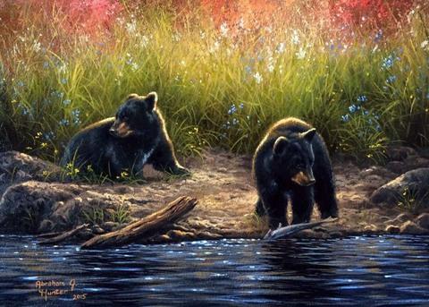 Картина раскраска по номерам 50x65 Медвежата у реки