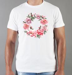 Футболка с принтом Цветы (Пионы) белая 0018