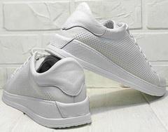 Белые кеды с перфорацией кроссовки на лето женские Evromoda 141-1511 White Leather.