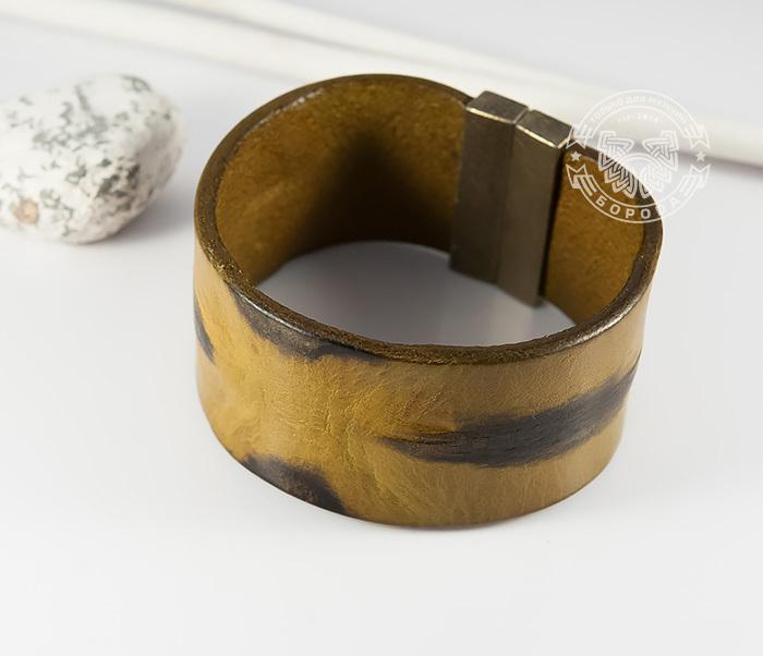 BL436-2 Яркий мужской браслет из натуральной кожи рыжего цвета (22 см) фото 04