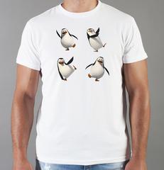 Футболка с принтом мультфильма Пингвины Мадагаскара (Penguins of Madagascar) белая 001