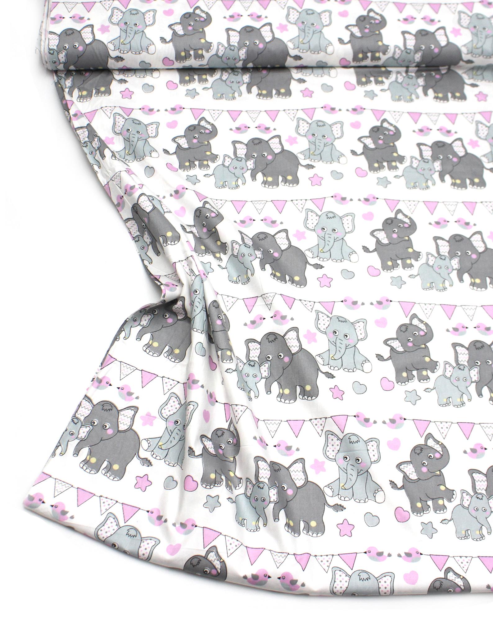 Слонята, розовая гирлянда
