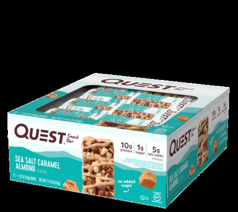 Батончики Quest Snack Bar со вкусом карамели с морской солью и хрустящего миндаля (12 шт)