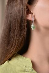 Серьги из муранского стекла со стразами Daniella Ca'D'oro Medio Emerald Silver 030OB