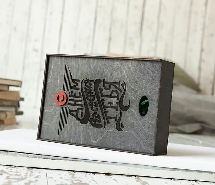 BOX229-1 Большая мужская коробка из дерева для подарков (18*26*7,5 см) фото 04