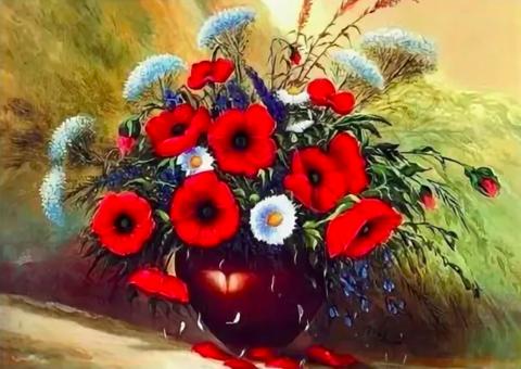 Алмазная Мозаика + Багет 40x50 Букет полевых цветов в горшке (арт. DA-1334)