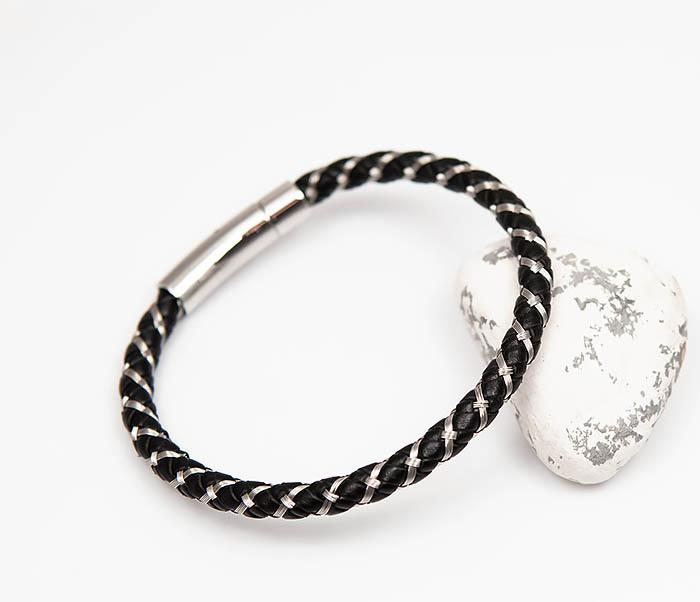 BM520 Мужской браслет из кожаного шнура и стальной проволоки (21 см)