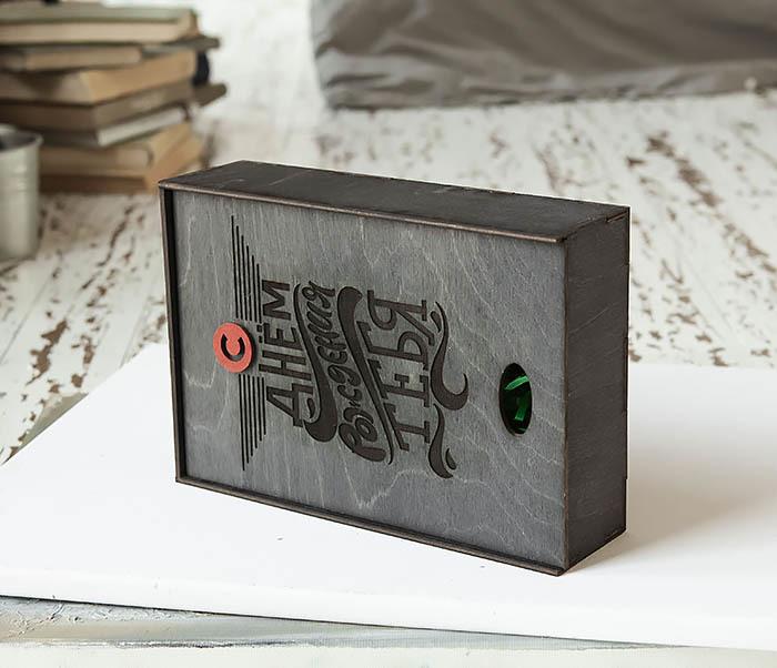 BOX229-1 Большая мужская коробка из дерева для подарков (18*26*7,5 см) фото 05