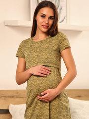 Мамаландия. Сорочка для беременных и кормящих с горизонтальным секретом, звезды/хаки