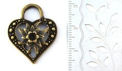 Подвеска металлическая Сердце с цветком 20*20 мм, 6 шт.