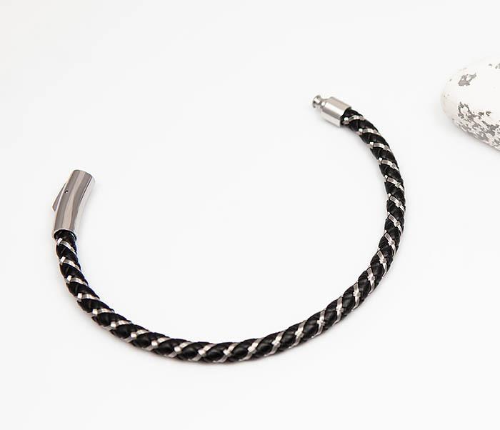 BM520 Мужской браслет из кожаного шнура и стальной проволоки (21 см) фото 02