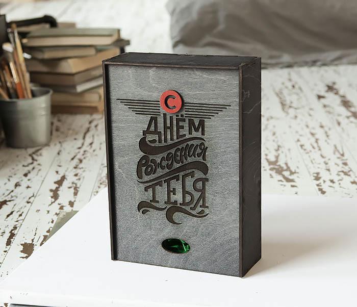 BOX229-1 Большая мужская коробка из дерева для подарков (18*26*7,5 см) фото 06