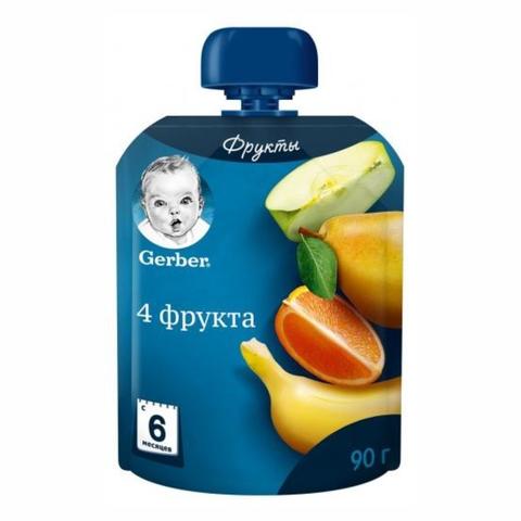 Пюре GERBER 4 фрукта 90 гр Nestle ПОЛЬША