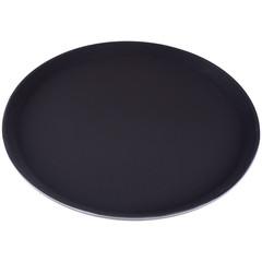 Поднос круглый d-35,5см коричневый с нескользящим покрытием