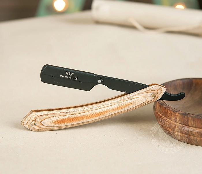 RAZ231 Бритва шаветка с деревянной рукояткой и держателем черного цвета фото 03