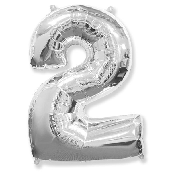 Фольгированная цифра 2, серебро