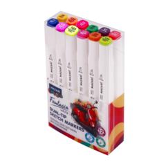 Mazari Fantasia White набор маркеров для скетчинга 12 шт двусторонние спиртовые пуля/долото 2.5-6.2 мм (основные + флуоресцентные)