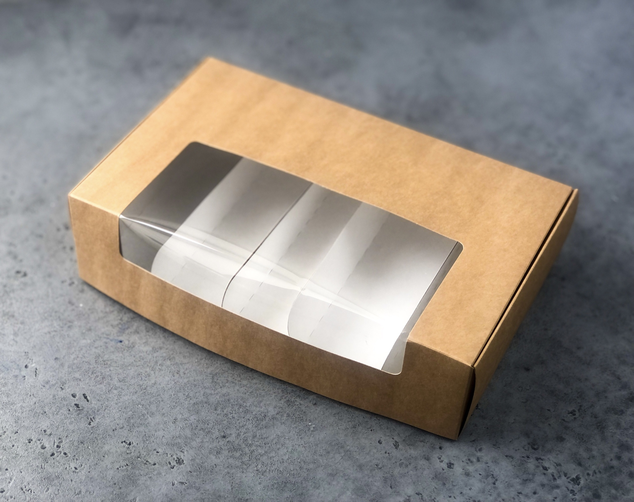 Коробка для эклеров и эскимо КРАФТ под 5 эклеров, 25,2х15х7 см