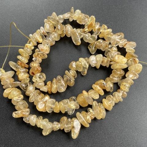 Бусины рутиловый кварц золотой галтовка нить 40 см