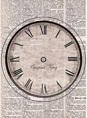 Рисовая бумага для декупажа Часы Старый город, А3