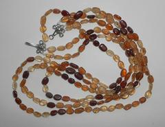 Трёхрядное ожерелье из хессонита, 46-54 см