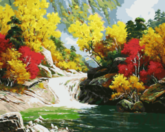 Картина раскраска по номерам 50x65 Водопад между осенних деревьев
