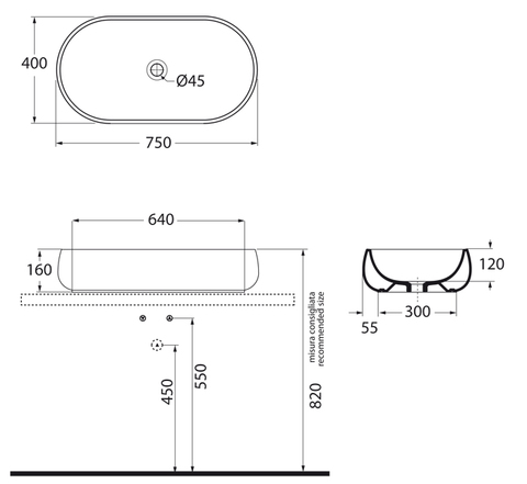 Раковина Azzura Nuvola NUV200/AP8 bi 75х40см,   схема