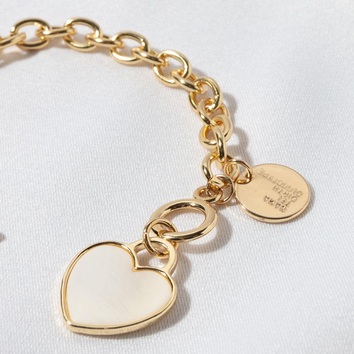 Браслет-цепь с сердечком, перламутр (золотистый)