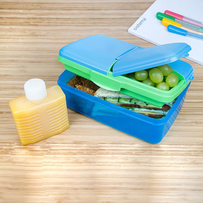 """Ланч-бокс с бутылкой Sistema """"Lunch"""", 4 секции, 1,5 л, цвет Голубой"""