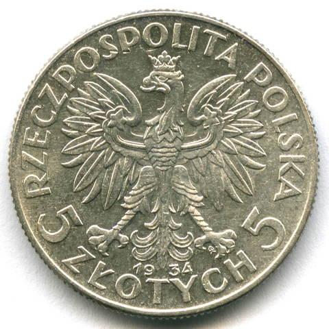 5 злотых Польша Ядвига 1934 год XF-AU Серебро