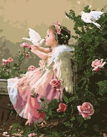 Алмазная Мозаика 40x50 Девочка с голубками (арт. MGL3333 )