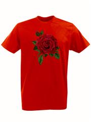 Футболка с принтом Цветы (Розы) красная 001