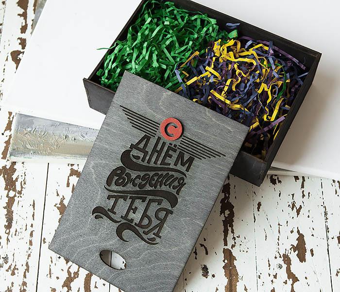 BOX229-1 Большая мужская коробка из дерева для подарков (18*26*7,5 см) фото 10