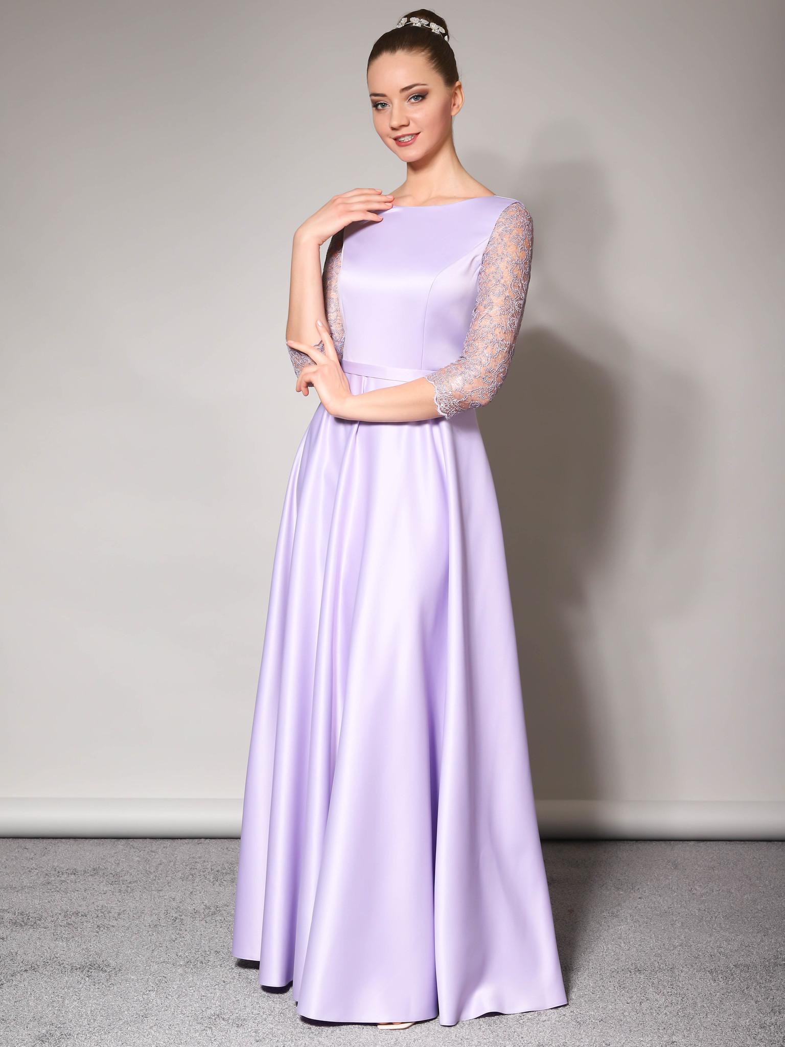 Нарядное платье Классика с кружевным рукавом три четверти (лаванда)