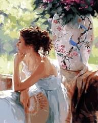 Картина раскраска по номерам 50x65 Девушка с веером и ваза