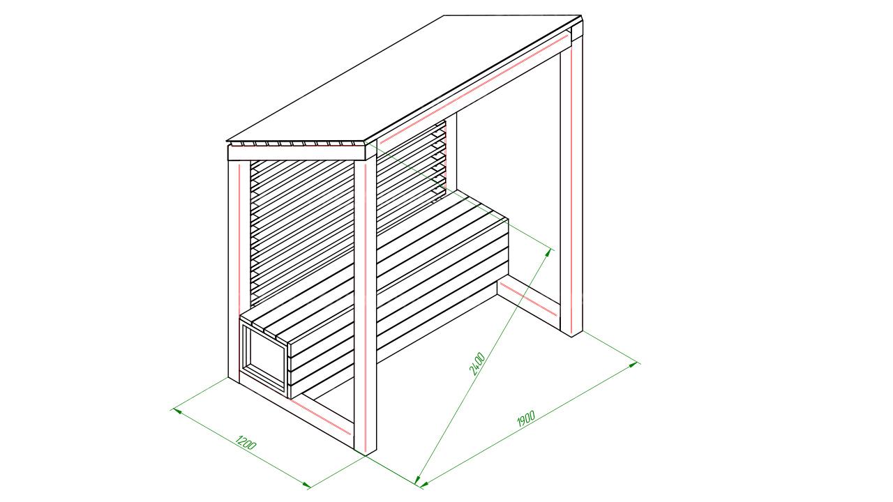 Скамейка с навесом SCAM0117